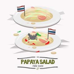 PapayaSalad. Thai food - vector