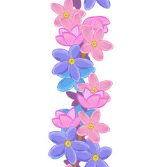 Vertical seamless floral line