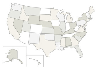 Stylized vector map of the USA. Each state can be selected individually