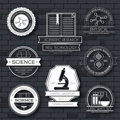 Science label template set. Emblem element for your product or design, web and mobile applications with text. Vector illustration with thin lines isolated icons on stamp symbol