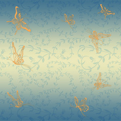 Butterflies on the background of leaves and flowers. Seamless background. Pattern for wrapping paper, postcards, fabric.