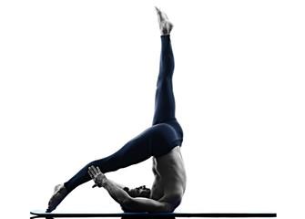 man pilates exercises fitness isolated