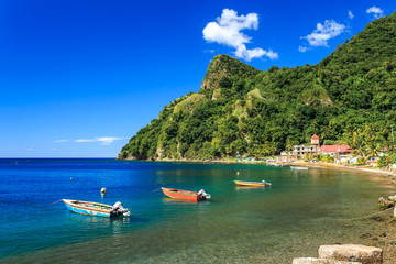 Boats on Soufriere Bay, Soufriere, Dominica Wall mural