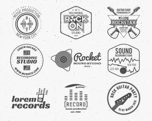Set of vector music production logo,label, sticker, emblem, print or logotype with elements - guitar, sound recording studio, t-shirt, sound production. Podcast and radio badges, typography design