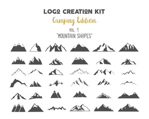 Logo creation kit bundle. Camping Edition set. Mountain vector shapes and elements Create your own outdoor label, wilderness retro patch, adventure vintage badges, hiking stamps. Check out all volumes
