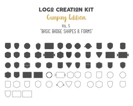Logo creation kit bundle. Camping Edition set. Basic badge shapes, vector forms, symbols and elements. Create your own outdoor label, wilderness retro patch, adventure vintage badges, hiking stamps.