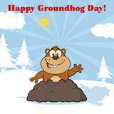 """Happy Marmot Cartoon Character Waving In Groundhog Day ..."