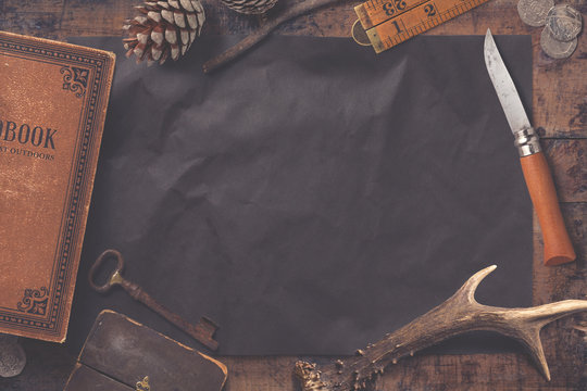 adventure themed background/mock-up with book and vintage items