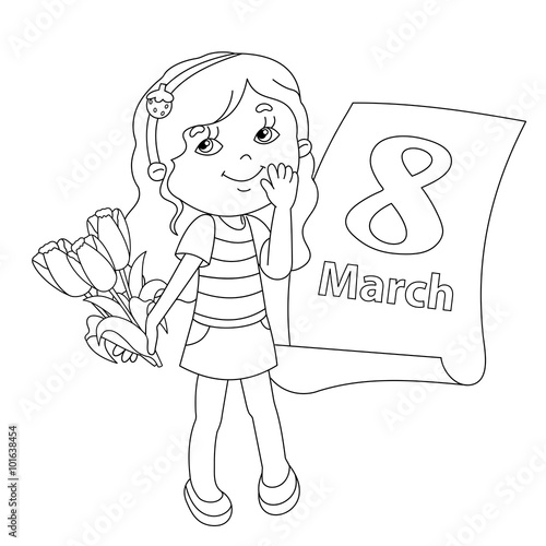 "Coloring page outline of girl with flowers. March 11."" Stock image ..."