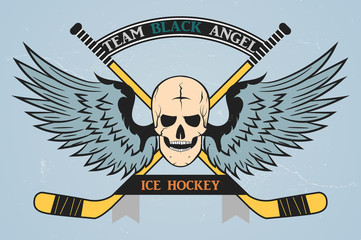 Hockey logo. color logo of the hockey team. vector. command stripe. stick, hockey player, puck, skates. ice hockey