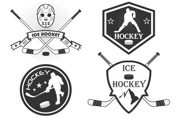 Hockey logo. a set of sports logos with hockey. vector. command stripe. stick, hockey player, puck, skates. mountains. ice hockey