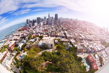 Wall Mural - Fisheye view of San Francisco panorama from hill