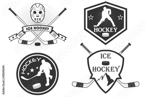 quothockey logo a set of sports logos with hockey vector