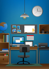 Vector Illustration of Workspace for Photographer
