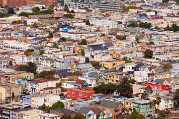 Fototapete - San Francisco residential area with small houses