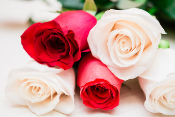 Red and white roses on a light wooden background. Women' s day,