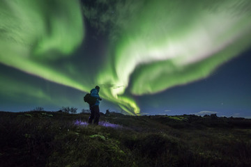Wall Mural - Aurora borealis above a person