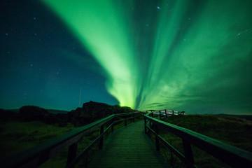 Fototapete - Aurora borealis above a walkway