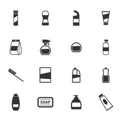 Houshold chemicals icons set