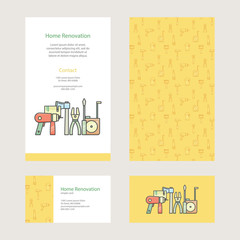Home Repair - brochure and business card with construction tools in modern flat style.