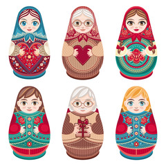 Matryoshka. Russian folk nesting doll. Babushka doll. Set. Vector illustration on white background