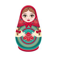 Matryoshka. Russian folk wooden doll. Babushka doll. Vector illustration on white background