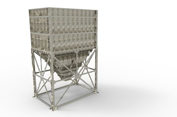metal hopper for storage of materials