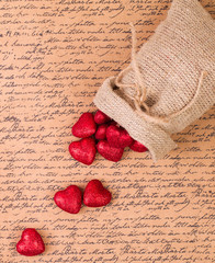 Red hearts in a bag