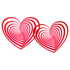 two connected red vector hearts