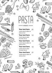 Vector hand drawn pasta menu. Vintage  line art illustration