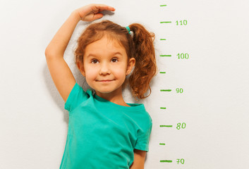 Close portrait of a girl show height on wall scale