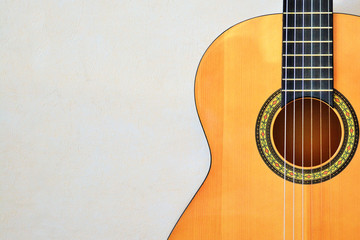 Acoustic guitar front view with space for text