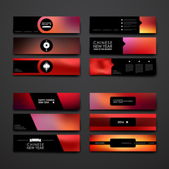Set of modern design banner template in Chinese New Year style