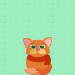 Кот в шарфе на фоне