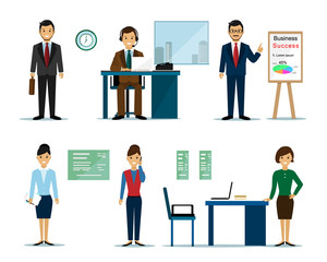 Business people characters: businessmen and businesswomen in the office. Flat style vector illustration