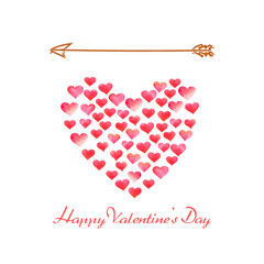Happy Valentines Day. Watercolor, colorful, red, romantic hearts in shape of heart on white background with arrow above