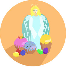 Пасхальные символы. Ангел, куличи и крашенные яйца