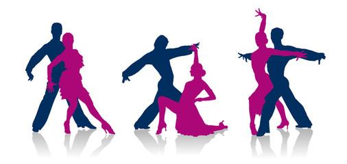 Ballroom dancers detailed silhouettes