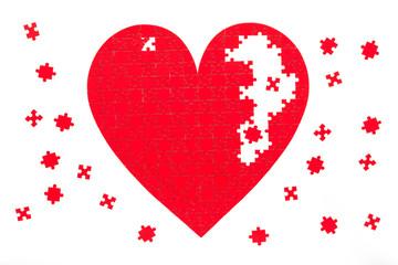 Love puzzle, Valentine's Day backdrop.