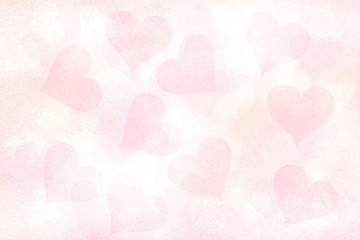 Lovely soft grunge and gently red pastel color (Rose quartz) Valentine's Day Hearts wrapping paper illustration background.