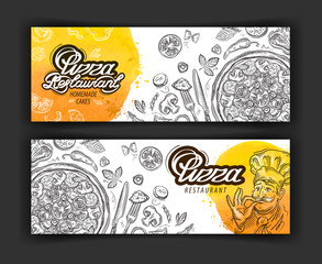 pizza restaurant vector logo design template. eatery, diner or cooking icons