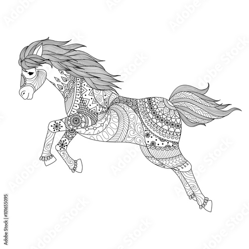 Zentangle Design For Jumping Horse Coloring Book