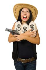 Young woman with gun and money sacks