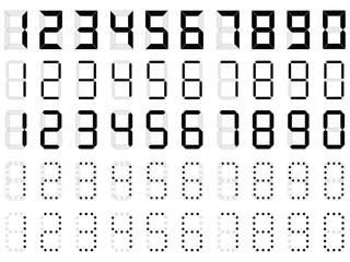 Simple digital numbers illustrated on white