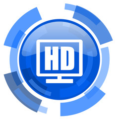 hd display blue glossy circle modern web icon