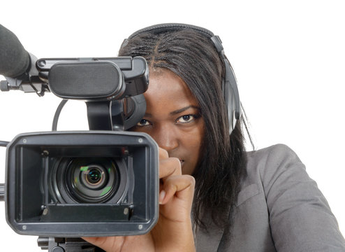 young African American women with professional video camera and