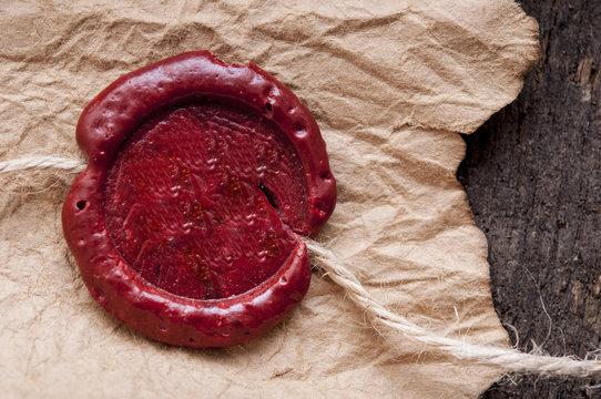 Vintage blank red wax seal