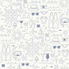 Sea and beach objects. Summer seamless pattern with decorative sea elements .