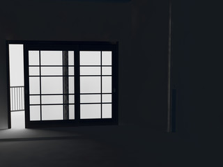 black room, night, big window,