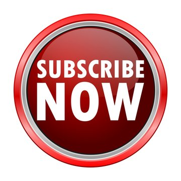 Subscribe Now round metallic red button